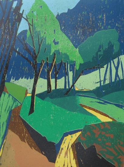 Peter Zaumseil - Grüne Landschaft - Farbholzschnitt, 2009