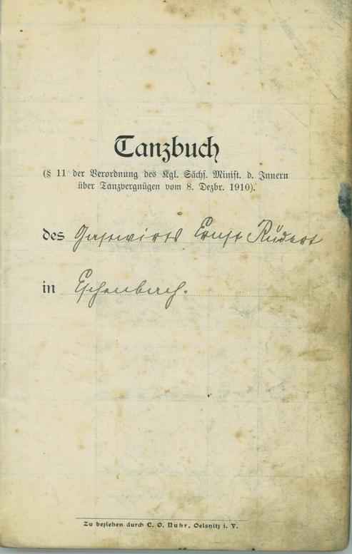 Tanzbuch der Gastwirtschaft in Eschenbach von 1910